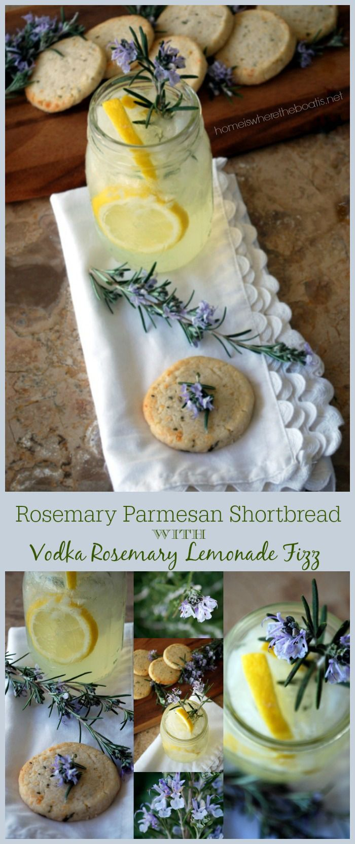Rosemary Recipes, 5 Ingredient Rosemary Parmesan Shortbread and a refreshing cocktail, Vodka Rosemary Lemonade Fizz!   homeiswheretheboatis.net #cocktail