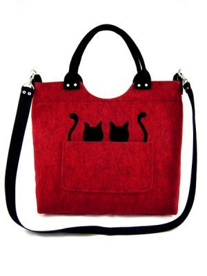 Kabelka Lady Mačičky v červenom vrecku
