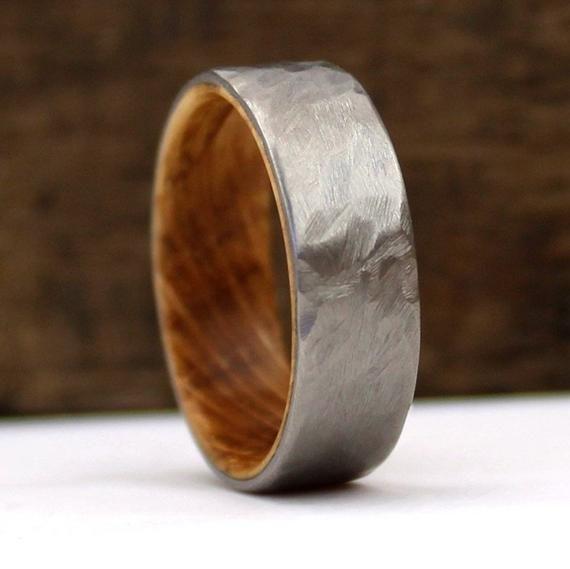 Whiskey Wood Ring, Jack Daniel's Ring, Whiskey Barrel Ring, Titanium Ring, Hammered Ring, Whiskey Oak, Oak Wood Ring, Handmade Wedding Ring