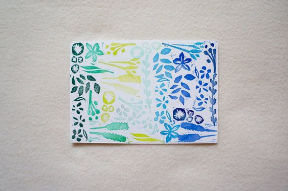 Plants Foliage Blue Green Ombre Botanical #Blockprint Art Print Hand Printed Leaves Flowers Pattern A6 Notecard #Postcard Notelet. Free UK Shipping