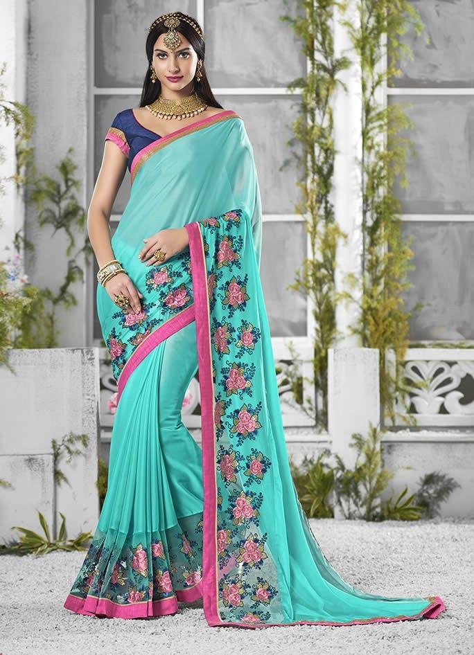 buy saree online Aqua Colour Indigo Georgette With Embroidery Work Saree Buy Saree online - Buy Sarees online