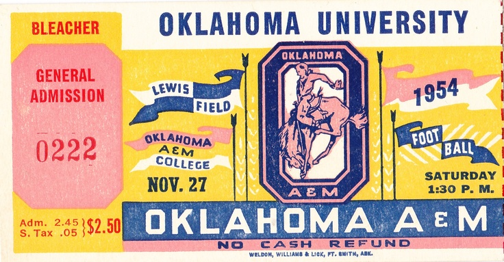Oklahoma football tickets! 1954 OU vs. OSU. The best Oklahoma football tickets are at http://www.shop.47straightposters.com/Oklahoma-Football-Tickets-OU-OSU-Tulsa-Tickets_c17.htm