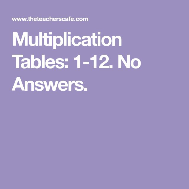 Multiplication Tables: 1-12. No Answers.