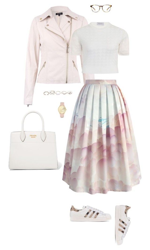 """""""Untitled #126"""" by abmcgrath ❤ liked on Polyvore featuring Morgan, Elvi, Chicwish, adidas Originals, Nine West, Prada and GUESS"""