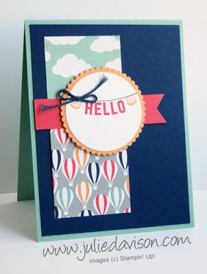 Stampin' Up! Sale-a-bration 2017 Any Occasions stamp set + Carried Away Designer Paper Hello Banner Card #stampinup www.juliedavison.com