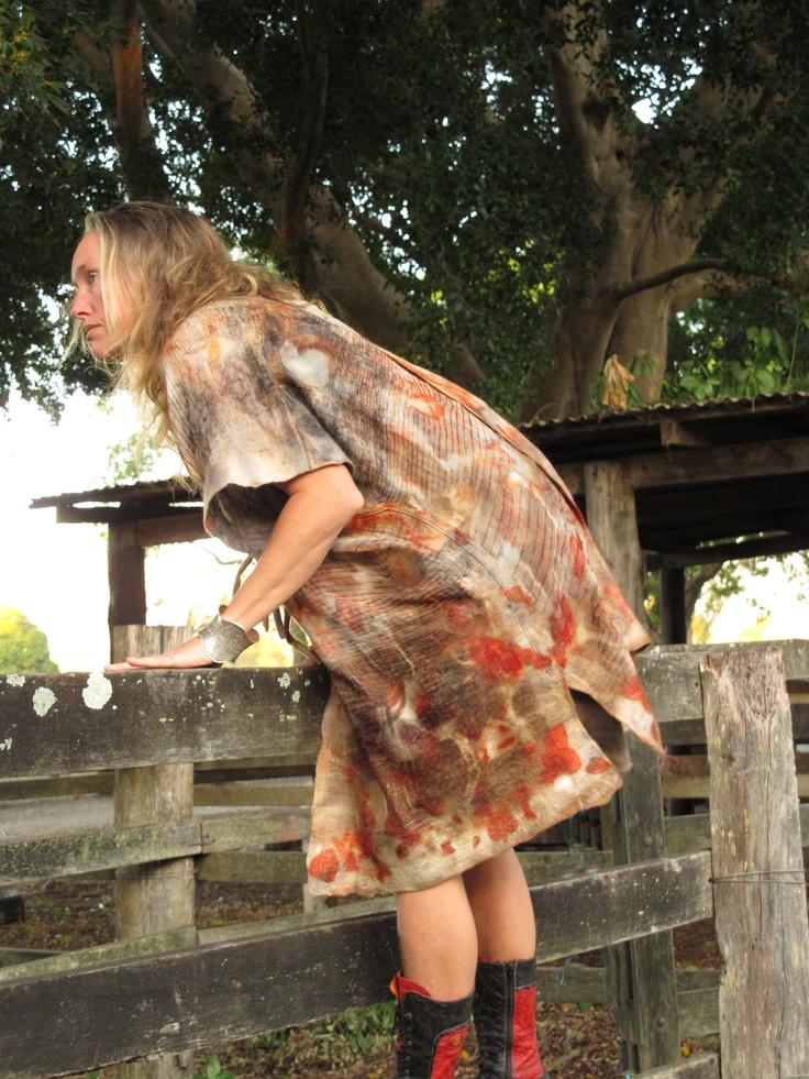 jacket felt - silk and wool eucalyptus dyes. Created by Susan Fell Mclean Gondwana Textiles Australia
