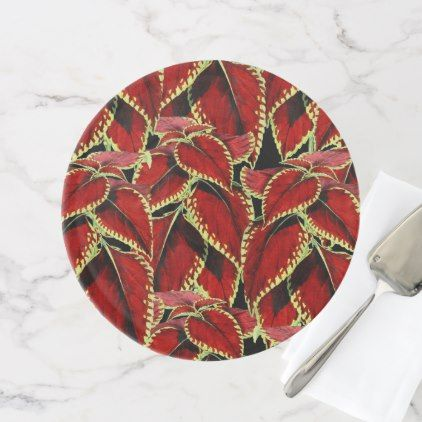 Red Leaf Pattern On Black Cake Stand - kitchen gifts diy ideas decor special unique individual customized