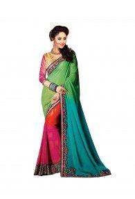 Bright Colour Collection Georgette Padding Half-Half Saree By Shreya Corporation