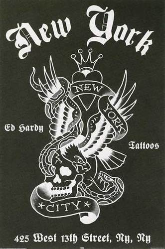 Ed Hardy New York Tattoo Poster Black White | eBay