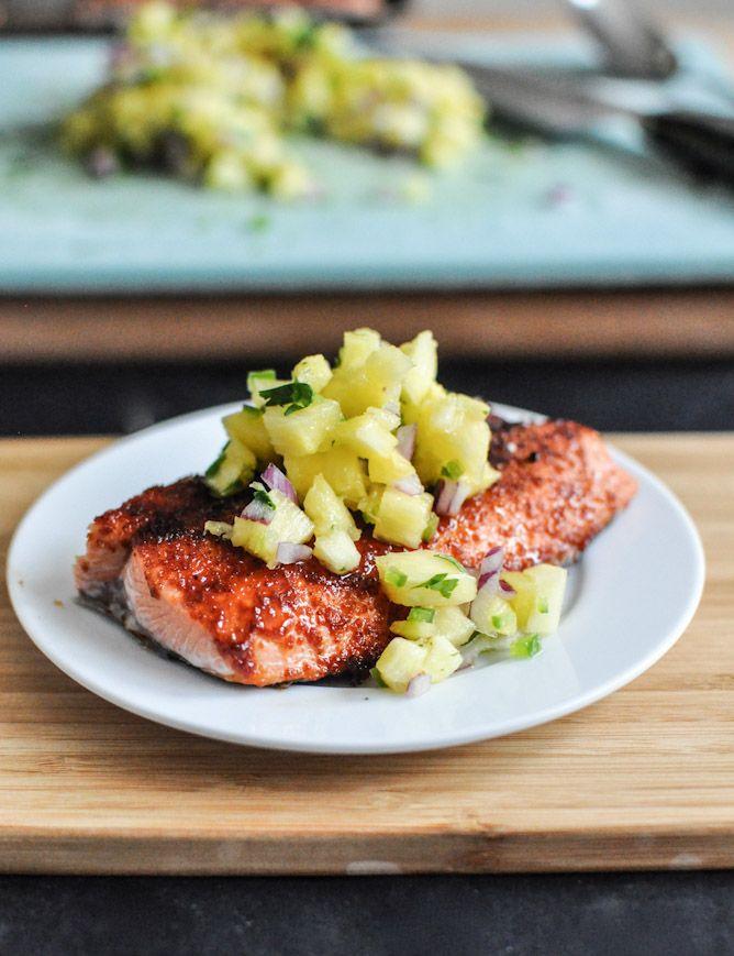 Dinner idea > BBQ Spiced Salmon w/ Pineapple- Jalapeño Salsa via @How Sweet Eats