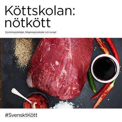 Broschyr om svenskt nötkött med fakta och inspiration om tillagning, styckningsdetaljer, smaksättning samt recept.  Antal sidor:24 Format:19x19 cm
