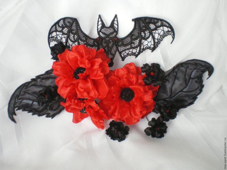 Купить Цветы к хэллоуину - ярко-красный, черный, Хэллоуин, украшение, заколка, черно-красный