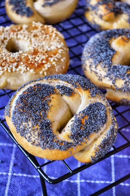 A Dutchie Baking: Bagels with Poppy and Sesame Seeds  Bagels are fabulous to serve for Christmas brunch or lunch. Bake them yourself, chewy, crispy and fresh out of the oven - deli-style!