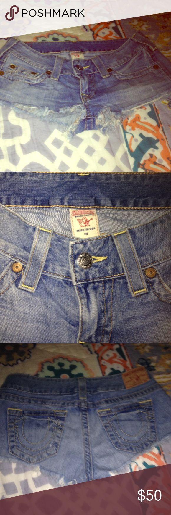 Authentic True Religion Daisy Duke Shorts Size 28 cutoff jean shorts True Religion Shorts Jean Shorts