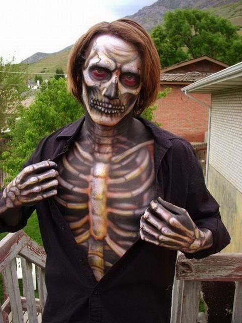 maquillaje esqueleto hombre Buscar con Google Halloween