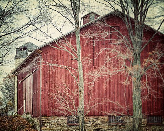 Canvas Art Red Barn Art Red Barn Photography Rustic Red