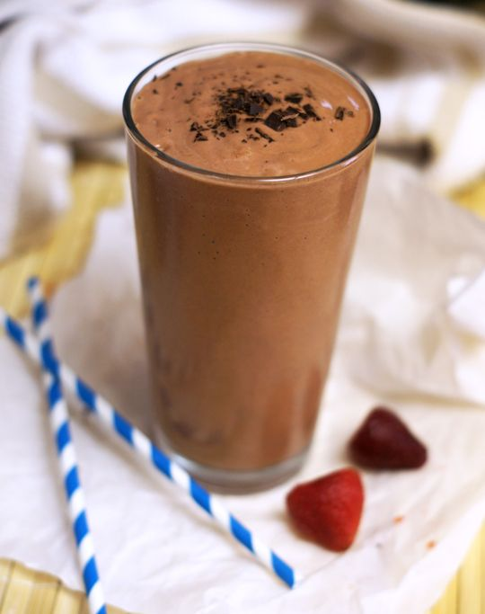 Chocolate-Covered Strawberry Shake! This shake is brimming with vitamins and nutrients, but all you'll taste is the sweet and rich flavor of a chocolate covered strawberry.