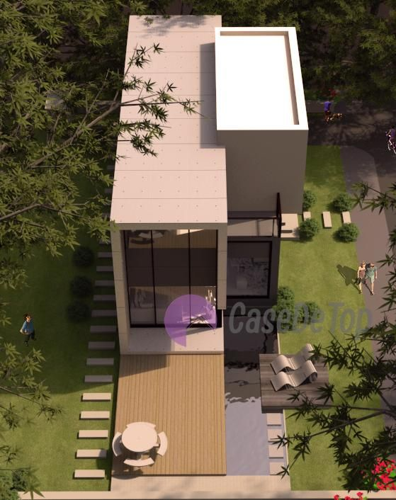 Casa moderna cu etaj- Vedere aeriana | Modern house- Aerial view | Etichete proiect: case mici moderne, case cu acoperis tip terasa necirculabila,