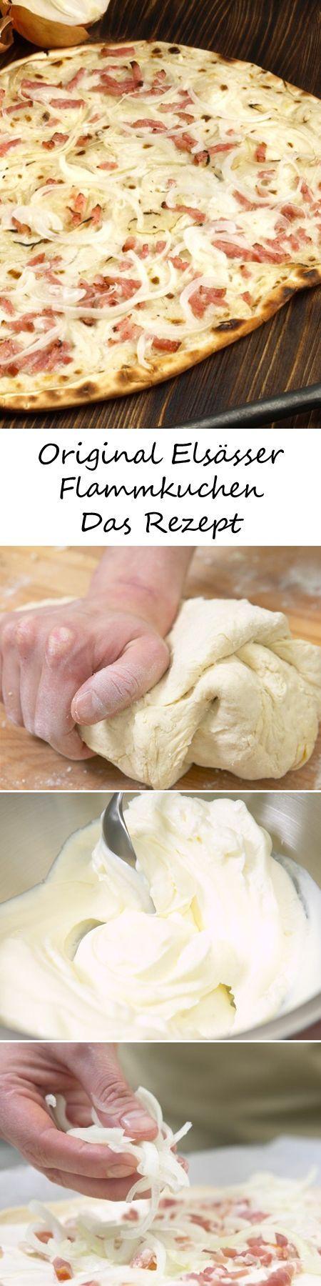 Elsässer Flammkuchen - so geht's Zutaten (8 Personen) 1/2 Würfel (21 g) Hefe, 1 TL Zucker, 600 g Mehl, Salz, 6 EL Öl, 300 g Zwiebeln, 250 g geräucherter durchwachsener Speck, 250 g Schmand, 150 g Crème fraîche, weißer Pfeffer, Backpapier
