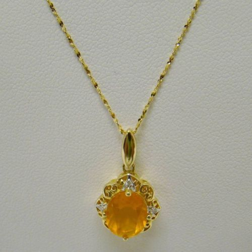 Solid 14k yellow gold mexican fire opal diamond accent 3 for Ice fine jewelry bend oregon