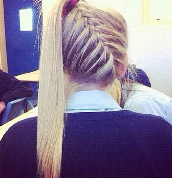 Angled braid put into a high pony with straightened long hair.