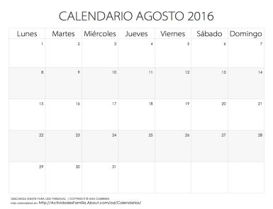 Calendario de celebraciones en Agosto 2016: Fechas especiales e ideas de cómo celebrarlas: Descarga gratis para uso personal