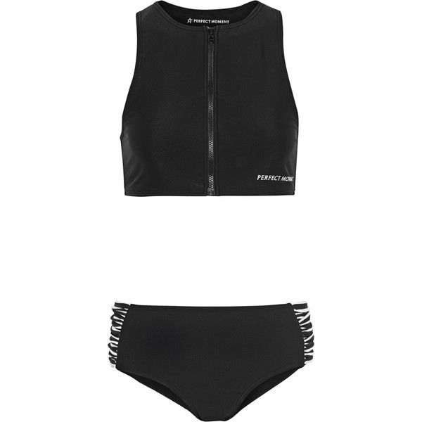 Perfect Moment Ruched striped bikini (281 AUD) ❤ liked on Polyvore featuring swimwear, bikinis, black, zipper swimwear, scrunch bikini, mid rise bikini, sport bikini and sport bikini swimwear