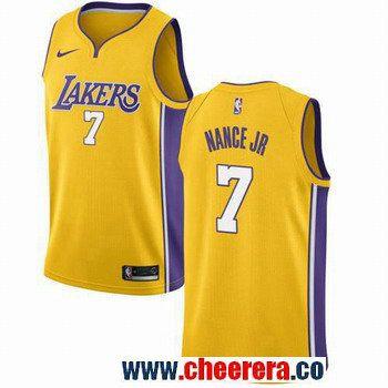 27ff651d792 Men's Nike Los Angeles Lakers #7 Larry Nance Gold Stitched NBA Swingman  Jersey