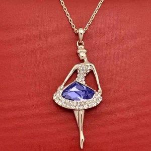 Diamant Kristall Halskette mit Ballerina Anhänger