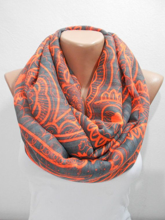 Paisley Scarf Infinity Scarf Blue Orange Scarf Mothers Day Christmas Gift  For Her Retirement Gift for WomanTravel Gift for Mom Wife 51e31d0c414