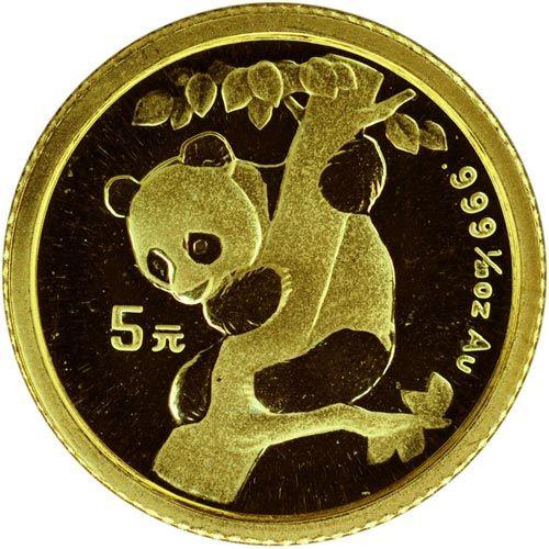 Moneda de oro 5 yuan 1/20 onza Panda China 1996. SC.