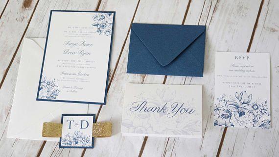 Sparkling Sapphire Toile Floral Wedding Invitation Suite: Navy