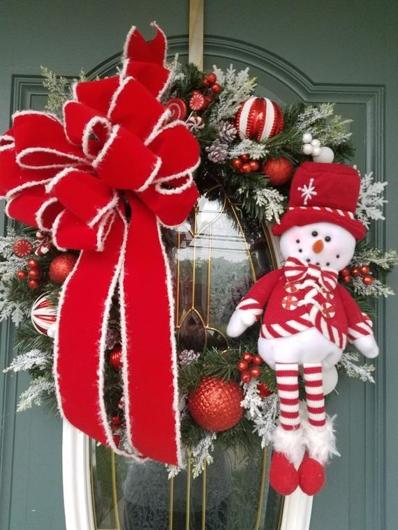 Christmas Wreath Christmas Wreath For Front Door Red And White Christmas Wreath Snowman Wreath Peppermint Wreath Front Door Wreath White Christmas Wreath Christmas Wreaths Christmas Wreaths For Front Door