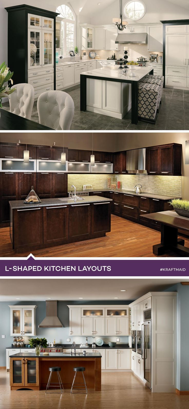 An l shaped kitchen makes efficient use of smaller spaces for Common kitchen layouts