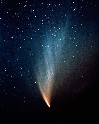Comet West was discovered in photographs by Richard West on August 10, 1975. It reached peak brightness in March 1976. During its peak brightness, observers reported that it was bright enough to study during full daylight. Despite its spectacular appearance, it did't cause much expectation among the popular media. The comet has an estimated orbital period of 558,000 years.