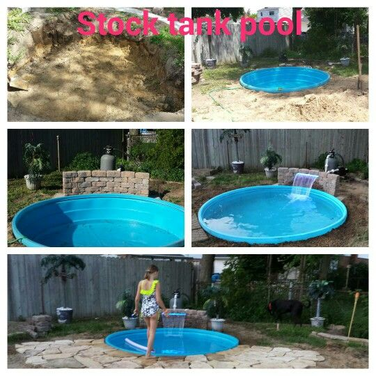 Stock tank pool with waterfall. Kids wanted a pool so I put this together for them.