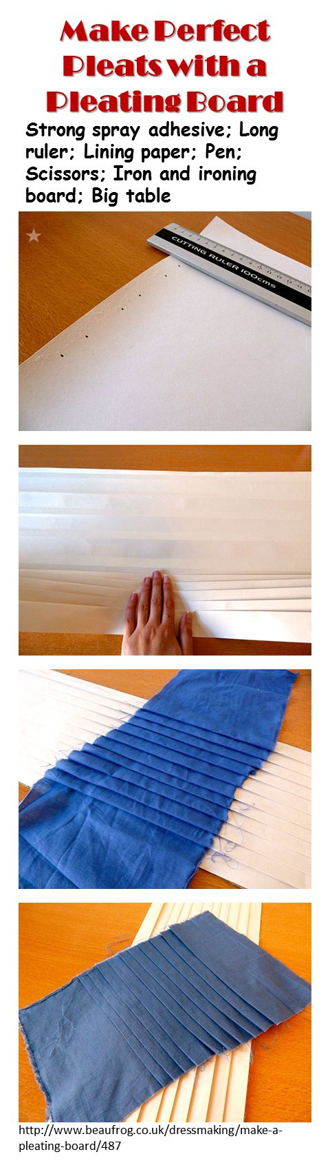Pleating Board - instead of lining paper use a mid-weight interfacing, non-fuseable. Use a credit card etc to make sure fabric goes between the pleats. http://www.beaufrog.co.uk/dressmaking/make-a-pleating-board/487