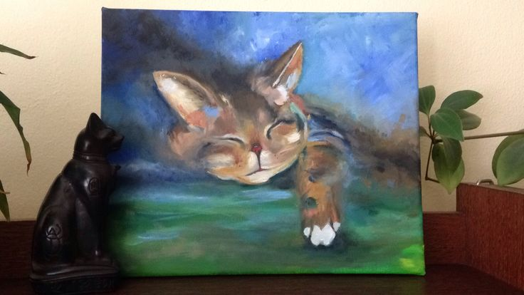 lenivá mačka #oilpainting #cat #chillout
