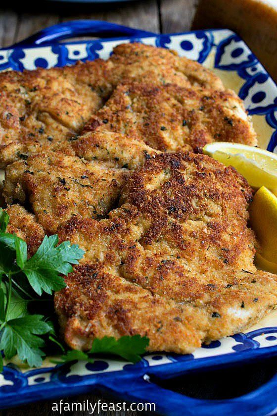 Parmesan Chicken Cutlets - A light Parmesan and breadcrumb coating for boneless, skinless chicken breast. This recipe is fantastic!