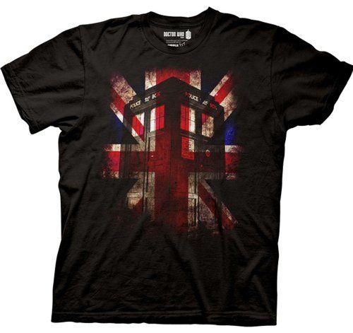 Hommes Dr Who Tardis Union Jack T-shirt noir