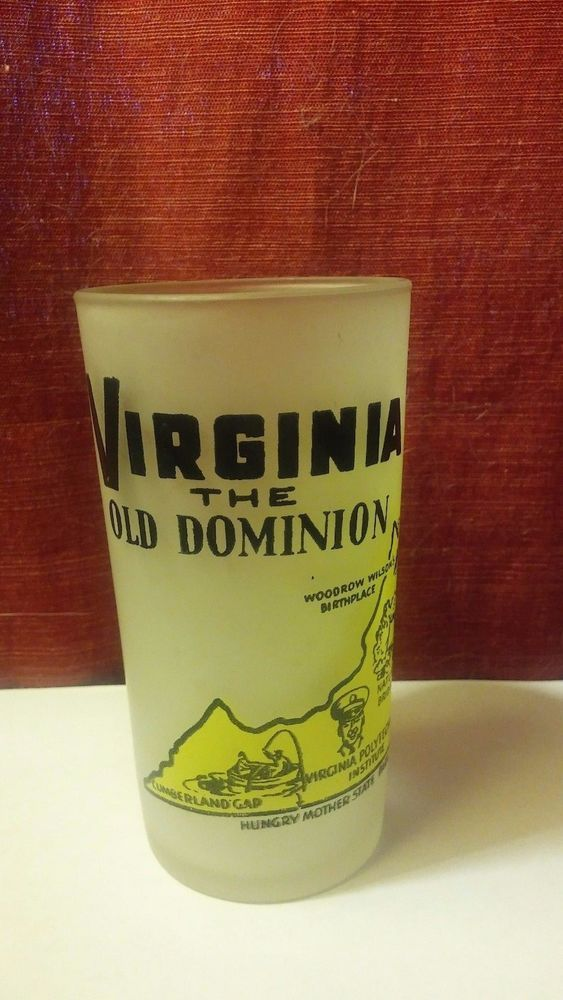 Vintage Frosted Virginia State Souvenir Hazel Atlas Glass The Old Dominion #Eclectic