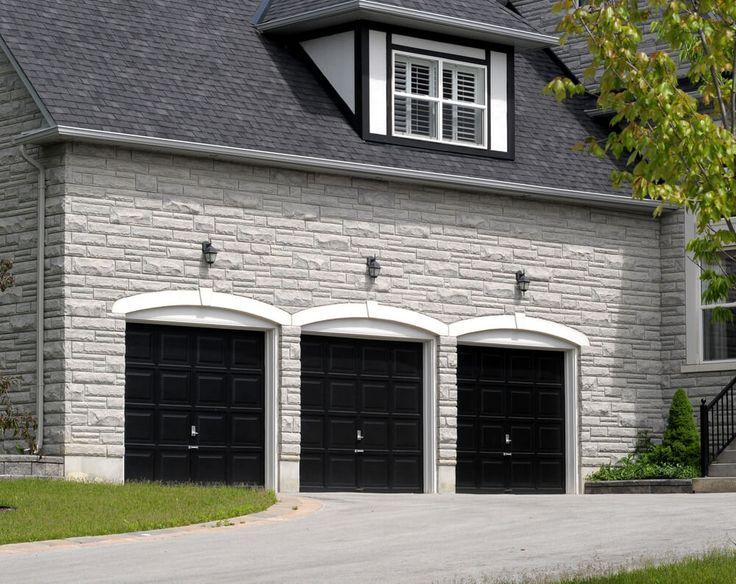 60 residential garage door designs pictures black door for Brick garage plans