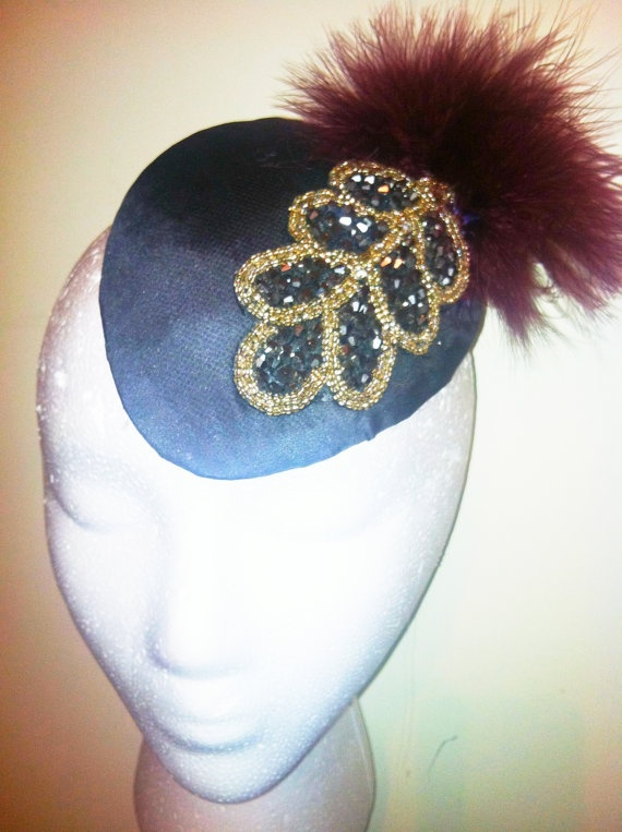 1920's Crystal Encrusted Leaf and Marabou Feather Fascinator-New Years Eve-Winter Wedding