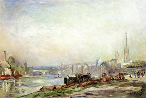 Rouen the Seine and the Cathedral - (Albert Charles Lebourg)