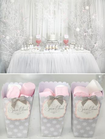 Gorgeous pink and white snowflake dessert table. So cute for a girl winter baby shower theme.