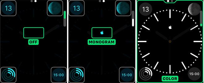 AppleWatch tips: add ••APPLE LOGO•• to clock face - tip by AppleInsider: Apple Watch iPhone app > Clock > Monogram > Paste  (from keyboard option-shift-k or paste from https://twitter.com/TipAppleInsider/status/598626419627794432)