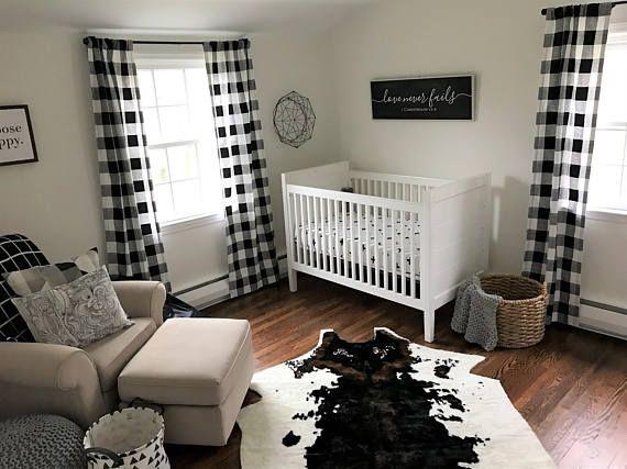 Black And White Buffalo Check Curtains Rod Pocket Optional Etsy Baby Boy Room Nursery Nursery Baby Room Baby Boy Rooms