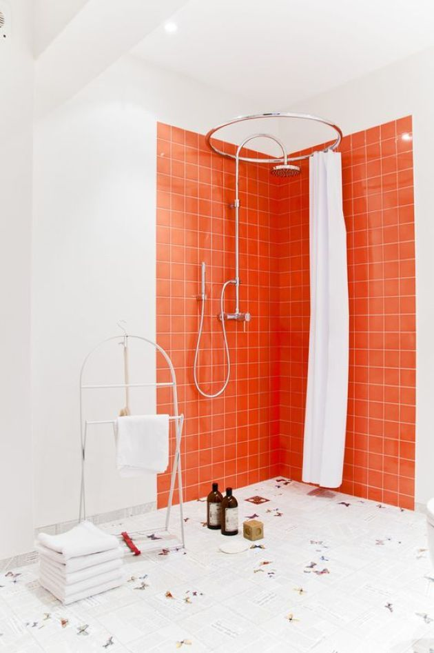 Shower Space With Bright Orange Tiles And White Grout Orange Tiles Shower Tile Orange Bathrooms Designs