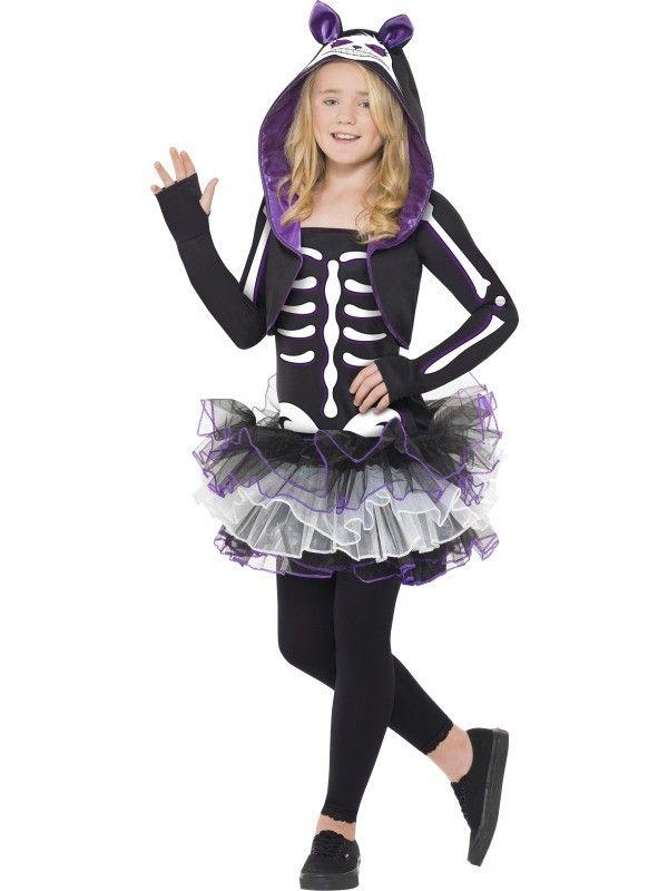 kids skelly cat costume cute skeleton fancy dress for girls