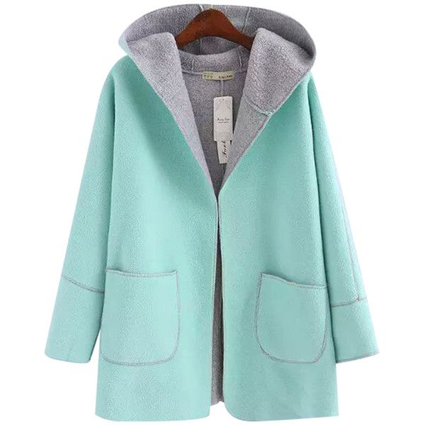 Chicnova Fashion Hooded Coat (155 VEF) ❤ liked on Polyvore featuring outerwear, coats, green hooded coat, green wool coat, woolen coat, green coat and hooded coats